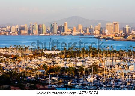 San Diego at sunset - stock photo
