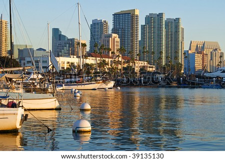 San Diego bay and skyline in afternoon - stock photo