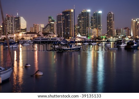 San Diego bay and skyline in evening - stock photo