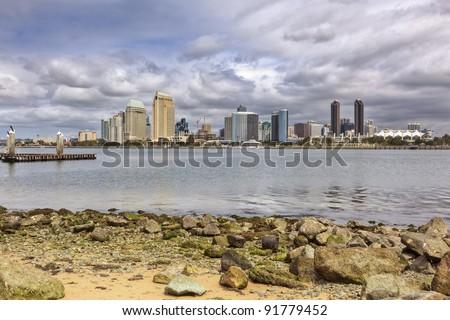 San Diego Bay & Downtown Skyline as seen from Coronado - stock photo