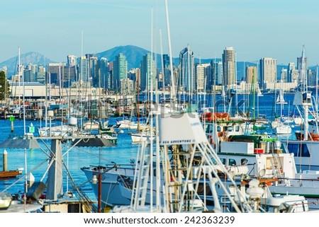 San Diego Bay. San Diego North Bay Marina and the City Skyline. California, USA. - stock photo