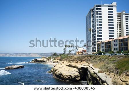 San Diego beach along coastline - La Jolla Cove - stock photo