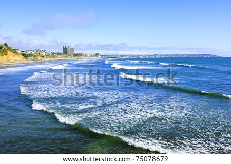 San Diego Beach View (Pacific Ocean) - stock photo