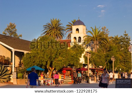 SAN DIEGO, CA - AUG 13:  Historic Old Town San Diego with  Church of Immaculate Conception in view on Aug 13, 2012.  This popular tourist location centers on the area's first settlement. - stock photo