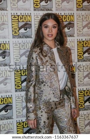 San Diego, CA - July 20, 2018: Hailee Steinfeld from Paramount Pictures' Bumblebee film arrives at Comic Con 2018 in San Diego, CA.