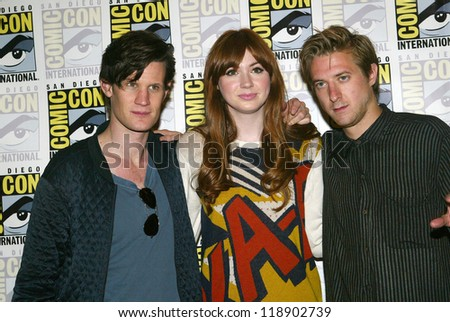SAN DIEGO, CA - JULY 15: Matt Smith, Karen Gillan and Arthur Darvill arrive at the 2012 Comic Con convention press room at the Bayfront Hilton Hotel on Sunday, July 15, 2012 in San Diego, CA. - stock photo