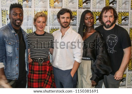 San Diego, CA - July 21, 2018: The cast of Nightflyers arrives at Comic Con 2018 in San Diego, CA. (Left to Right - David Ajala, Gretchen Mol, Eoin Macken, Jodie Turner Smith, Angus Sampson)