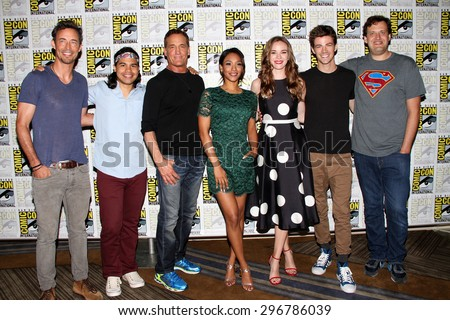 "SAN DIEGO, CA - JULY 11: The cast of ""The Flash"" arriving at the press room for the 2015 Comic Con International convention in the Bayfront Hilton Hotel on July 11, 2015 in San Diego, CA."