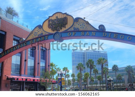 SAN DIEGO , CA - SEP 02 : The Gas Lamp Quarter in San Diego California on September 02 2013 , Gaslamp is the historic heart of San Diego. - stock photo