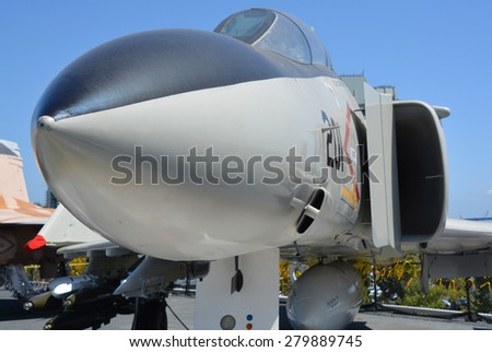 SAN DIEGO CA USA APRIL 07 2015: Grumman F-14 Tomcat is a supersonic, variable-sweep wing fighter aircraft. Tomcat was developed for the United States Navy's Naval Fighter Experimental (VFX) program - stock photo