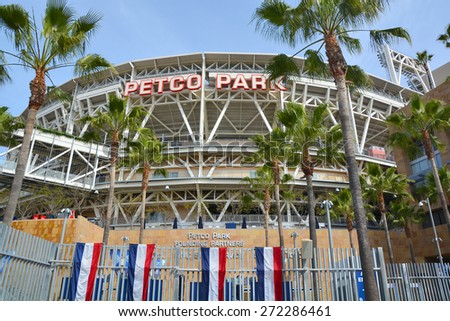 SAN DIEGO CA USA APRIL 7 2015: Petco Park Stadium, home of the Padres baseball team, in San Diego. Petco Park is an open-air ballpark in downtown San Diego, California - stock photo