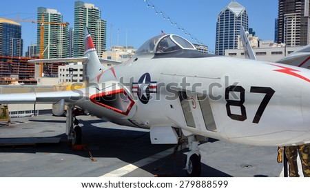 SAN DIEGO CA USA APRIL 07 2015: The Grumman F9F/F-9 Cougar was an aircraft carrier-based fighter aircraft for the United States Navy. - stock photo