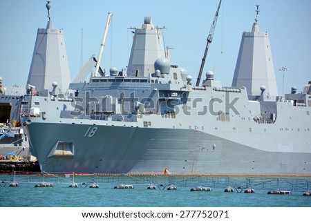 SAN DIEGO CA USA APRIL 09 2015: USS New Orleans (LPD-18), a San Antonio-class amphibious transport dock, is the fourth commissioned ship of the Us Navy to be named for city of New Orleans, Louisiana - stock photo