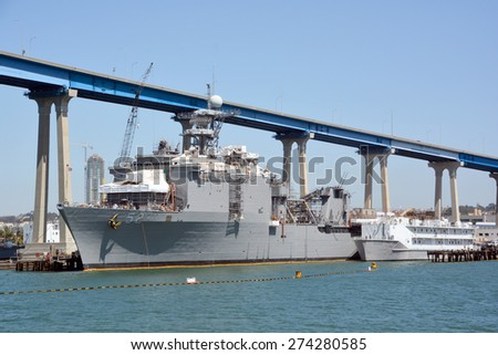 SAN DIEGO CA USA APRIL 09 2015: USS Pearl Harbor (LSD-52) is a Harpers Ferry-class dock landing ship of the US Navy. She was named for Pearl Harbor, where World War II began for the United States. - stock photo