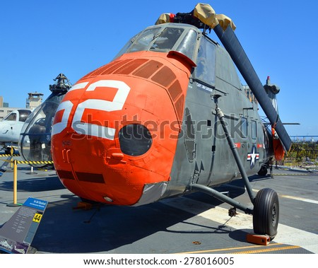 SAN DIEGO CA USA 04 07 2015: Sikorsky H-34 Choctaw/Seabat/Seahorse, Assault, Medevac, Utility, and Anti-Submarine Warfare Helicopter, Used by U.S. Navy, Army, Marines, Coast Guard, and Air Force.  - stock photo