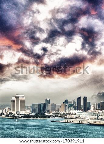 San Diego, California. City skyline from the ocean. - stock photo