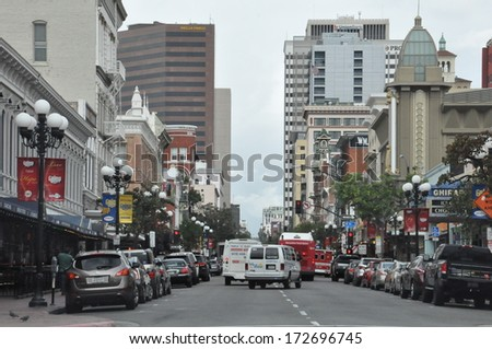 SAN DIEGO, CALIFORNIA - DEC 19: Gaslamp Quarter, in San Diego, California, as seen on Dec 19, 2013. It is a historical neighborhood in downtown San Diego and the center of downtown night life. - stock photo