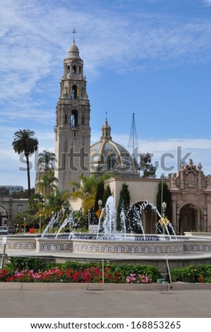 SAN DIEGO, CALIFORNIA - DEC 18: San Diego Museum of Man in Balboa Park in San Diego, California, as seen on Dec 18, 2013. It is housed in the historic landmark buildings of the California Quadrangle. - stock photo