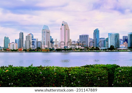 San Diego California Downtown View from Coronado Island Panorama, Blue Cloudy Sky - stock photo