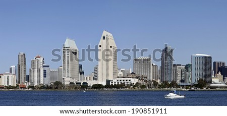 SAN DIEGO, CALIFORNIA - FEB. 12, 2013: A View of Downtown San Diego. San Diego is second-largest city at the Pacific Ocean in California. It is the eighth-largest city in the United States. - stock photo