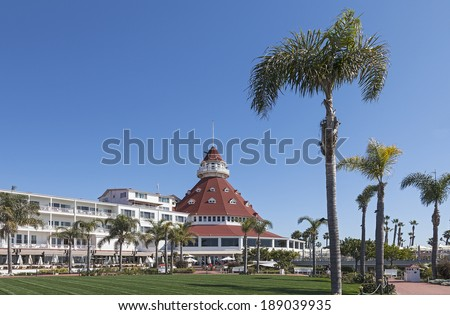 SAN DIEGO, CALIFORNIA - FEB. 12, 2013: A view of Hotel del Coronado in San Diego, USA. The Wooden Victorian Beach Resort opened in 1888. Hotel del Coronado is California Famous Historical Landmark. - stock photo