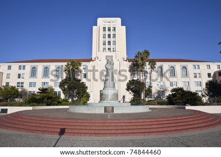 SAN DIEGO, CALIFORNIA - MARCH, 24: San Diego's county administration building shines brightly despite budget shortfall from a 10.3% local unemployment rate on March 24, 2011 in San Diego California. - stock photo