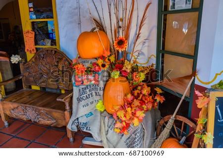 SAN DIEGO, CALIFORNIA   OCTOBER 31, 2014   Halloween Garden Decorations In  The Old