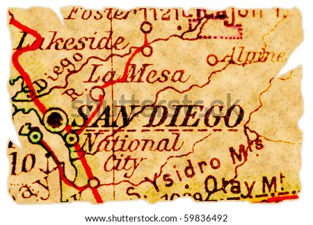 San Diego, California on an old torn map from 1949, isolated. Part of the old map series. - stock photo