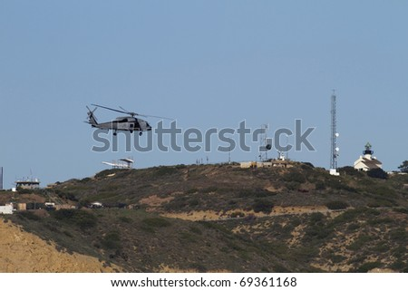 San Diego California Point Loma with Navy Chopper and Lighthouse visible.