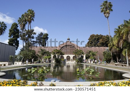 SAN DIEGO, CALIFORNIA - SEPTEMBER 28:  Botanical Building with the Lily Pond and Lagoon at Balboa Park in San Diego on September 28, 2014.  - stock photo