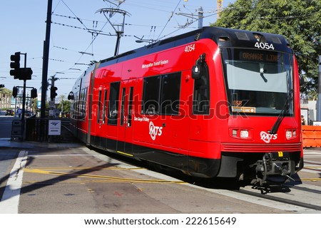 SAN DIEGO, CALIFORNIA - SEPTEMBER 29: City trolley in San Diego on September 29, 2014. The San Diego Trolley  is a light rail system operating in the metropolitan area of San Diego