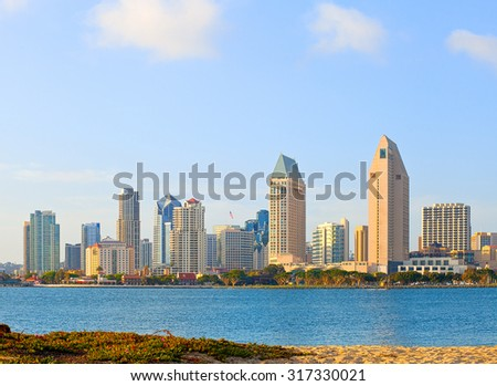 San Diego California, skyline of downtown business district on a beautiful sunny summer day