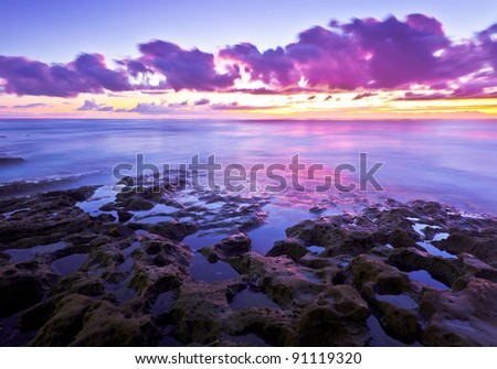 San Diego, California Sunset and Tide Pools at La Jolla Cove - stock photo