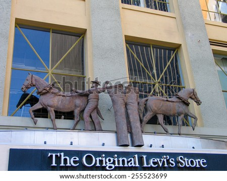 SAN DIEGO, CALIFORNIA, US - MARCH 11, 2007: Detail of the Levi Strauss The Original Levis store shop in San Diego California. It is an American clothing company known for its jeans  - stock photo