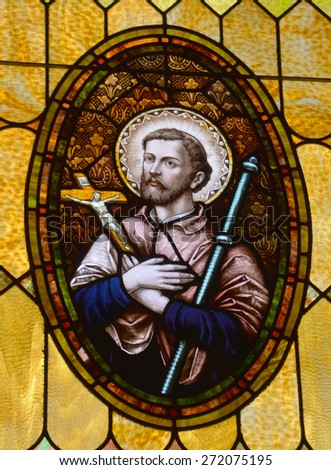 SAN DIEGO, CALIFORNIA, USA 07 APRIL: Missionarie stained Glass in the Immaculate Conception Church on april  07 2015 in Old San Diego CA USA - stock photo