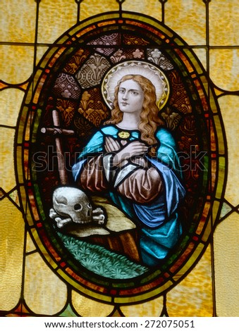 SAN DIEGO, CALIFORNIA, USA 07 APRIL:  Virgin mary stained Glass in the Immaculate Conception Church on april  07 2015 in Old San Diego CA USA