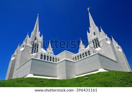 SAN-DIEGO, CALIFORNIA, USA - AUGUST 17: San Diego Mormon temple during daylight hours on August 17, 2010 - stock photo