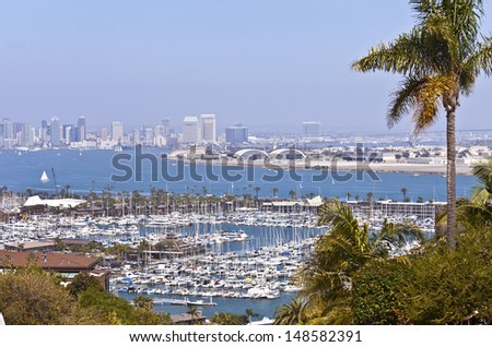 San Diego city view from Point Loma California. - stock photo