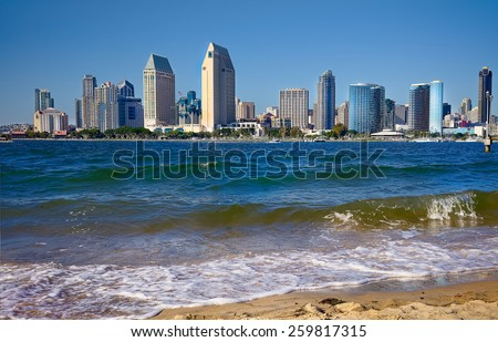 San Diego Downtown City Beach. San Diego California USA. San Diego Travel Vacation. - stock photo