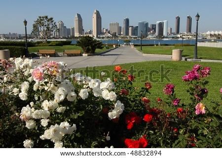 San Diego Downtown from Coronado Island - stock photo