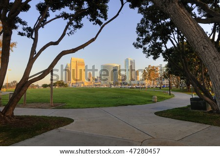 San Diego downtown marina and convention center - stock photo