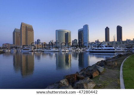 San Diego downtown marina and convention center in the morning - stock photo