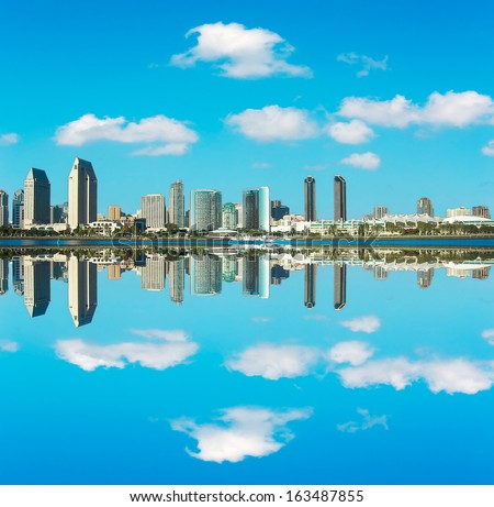 San Diego downtown reflected in the water - stock photo