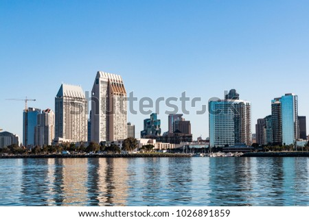San Diego downtown skyline and harbor at dawn.