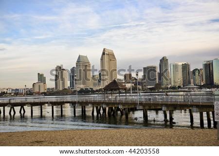 San Diego from Coronado Island - stock photo