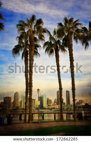 San Diego from Coronado through the palm trees - stock photo