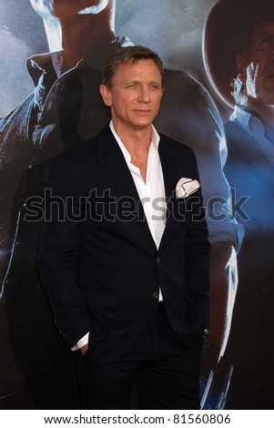 "SAN DIEGO - JUL 23:  Daniel Craig arriving at the ""Cowboys and Aliens"" Premiere at Civic Theater on July 23, 2010 in San DIego, CA - stock photo"