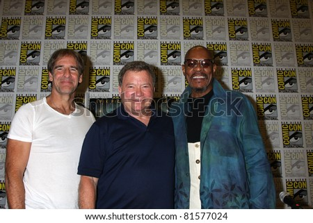 SAN DIEGO - JUL 22:  Scott Bakula, William Shatner, Avery Brooks at the 2011 Comic-Con Convention - Day 2 at San Diego Convention Center on July 22, 2010 in San DIego, CA - stock photo