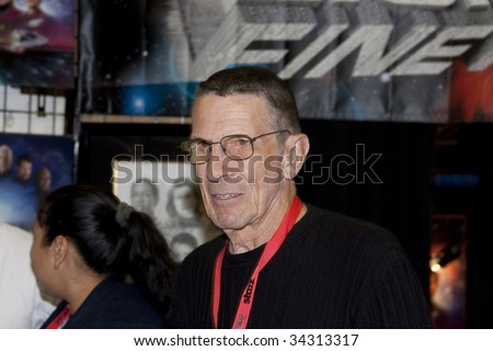 SAN DIEGO - JULY 26: Actor Leonard Nimoy at a booth, on day 4 of the 2009 Comic-Con International Convention on July 26, 2009 in San Diego, California. - stock photo