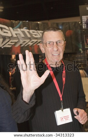 SAN DIEGO - JULY 26: Actor Leonard Nimoy poses at a booth, in character as Mr. Spock, on day 4 of the 2009 Comic-Con International Convention on July 26, 2009 in San Diego, California.